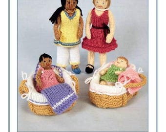 Anika and Dawn with babies Knitted Dolls Knits & Pieces Knitting Pattern , Toy knitting pattern, Doll  toy pattern KP 25