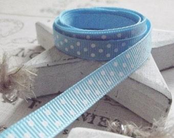 2 Yards of Baby Blue Polka Dot Grosgrain Ribbon