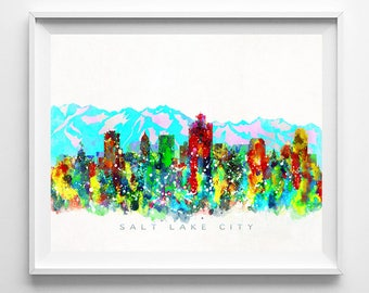 Salt Lake City Skyline, Print, Watercolor Painting, Utah Art, Cityscape, City Poster, Home Decor, Wall Decor, Mothers Day Gift