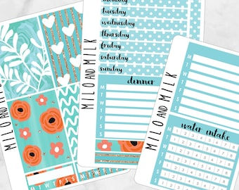 Blue Tropical Kit | Bullet Journal + Planner Stickers