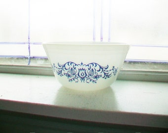 Federal Glass Mixing Bowl Blue Tulip Milk Glass 7 Inch