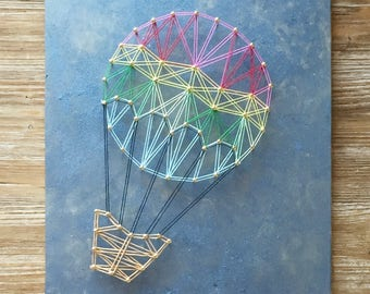 Colored balloon in a blue sky, String art wall hanging, handmade in Italy