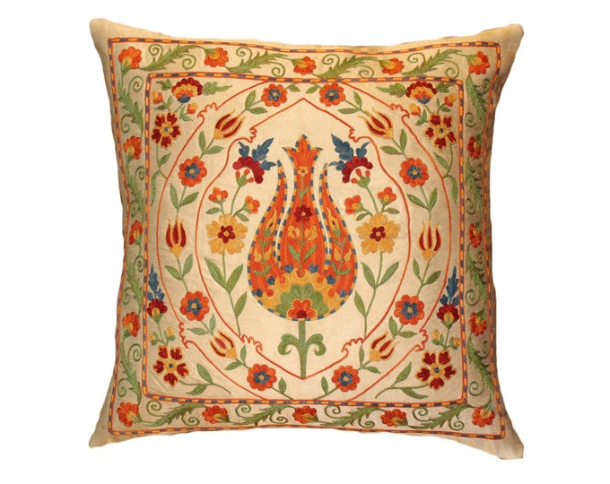 Handmade Suzani Silk Pillow Cover EMP114, Suzani Pillow, Uzbek Suzani, Suzani Throw, Suzani, Decorative pillows, Accent pillows