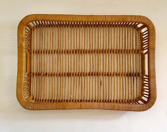Vintage Natural Rattan Tray with Handles, Franco Albini Style