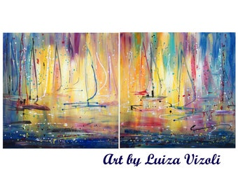 Morning Lights Pollock Inspired 60x30 Abstract Lake Boats Painting Expressionist Drip Painting LARGE