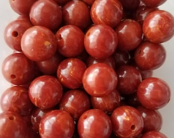 20 Vintage bakelite beads marbled paprika red 9mm lot jewelry supply
