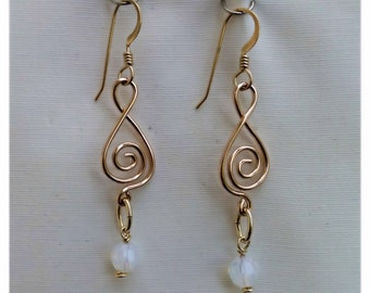 Opal Swarovski Crystal Beads and 14/20 Gold Filled Formed and Hammered Wire Earrings - #11131