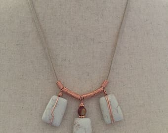 Handmade copper and stone necklace
