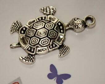 1 - 45x28mm Turtle Pendant-Antique Silver-Large Turtle Pendant-Metal Alloy-Sea Turtle-Ocean Creature-Jewelry Making-Necklace Supplies