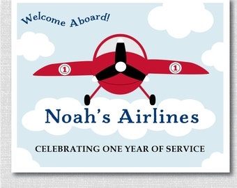 Red and Blue Airplane Party Welcome Sign - Printable Airplane Party Sign - Airplane Themed Birthday Party - Two Sizes - DIGITAL DESIGN