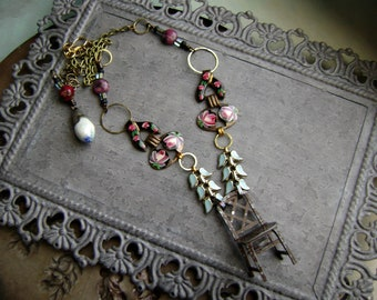 one of a kind chair necklace with repurposed vintage enamel jewelry, 1920s 1930s metal, mixed media assemblage jewelry, AnvilArtifacts