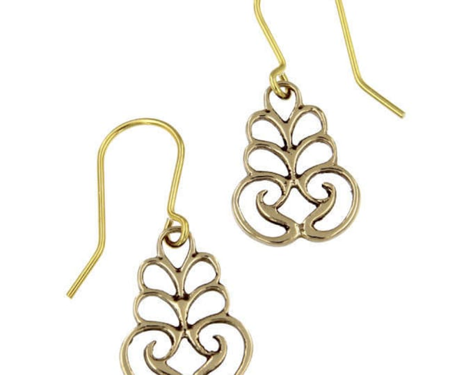 Scroll Drop Earrings – bronze  Hand Made in UK