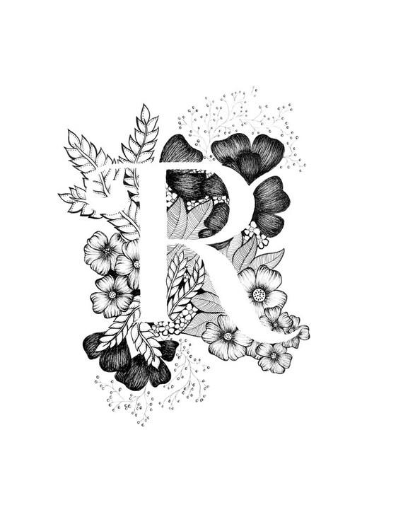 Imprimir letra R alfabeto caligrafía tipografía