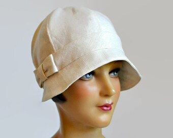 Women's Cloche Hat in Cream Linen with Bow - 1920s Cloche Hat - Linen Hat