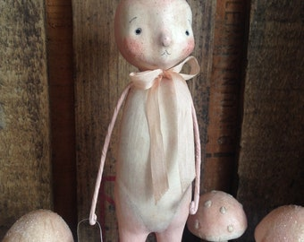 Easter, Bunny, Pink, Large, Spring, Folk Art, Paperclay
