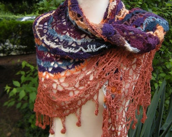 Shawl triangle crochet scarf Frings triangle towel