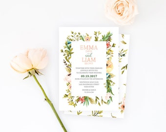 Rustic Wedding Invitation, Floral Wedding Invitation, Garden Wedding Invitation, Floral Wreath Wedding Invitation, Woodland Wedding Invite
