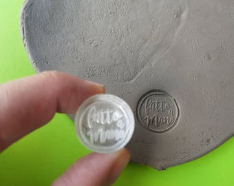 Custom Clay Stamp: Hand Made, personalization stamp, clay stamp, stamp for fimo, stamp for candles and soaps