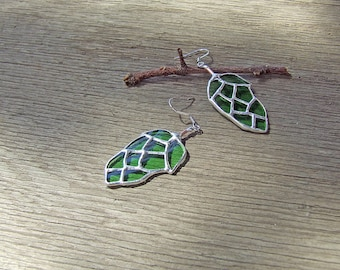 Eco Friendly Gift - Recycled Glass Hops Cone Earrings - Unique Wedding Gift - Anniversary Gift