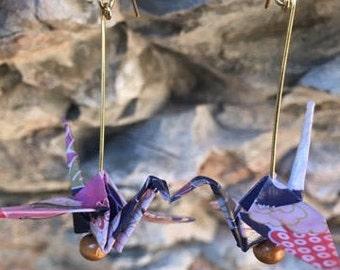 Origami Peace Crane Earrings