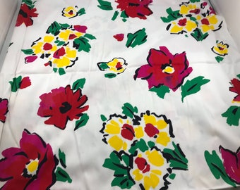 2 1/2 Yards of Vintage White with Red and Yellow Floral Print Cotton Fabric