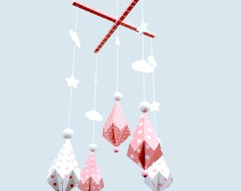 Mobile Origami diamond paper and wood for nursery, pink and white pattern