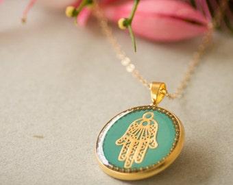 Hamsa necklace gold necklace evil eye necklace turquoise necklace resin necklace evil eye charm evil eye jewelry Jewish jewelry kabbalah
