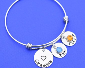 Personalized Grandma bracelet, Grandma birthstone bracelet, custom grandchildren bracelet, Christmas gifts for Grandma