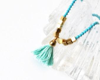 Turquoise Necklace - Boho Necklace - Tassel Necklace - Bohemian Necklace - Gemstone Necklace - Geometric Necklace - Free Shipping