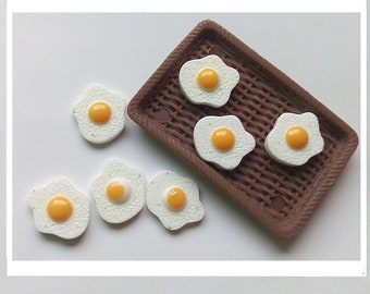 Fried Eggs miniature food breakfast resin cabochons flatbacks Tiny Plastic EM043018