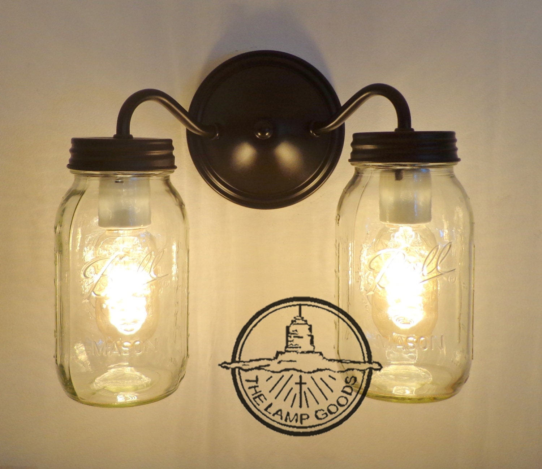 Canning jar double wall sconce new quarts mason jar lights zoom arubaitofo Gallery
