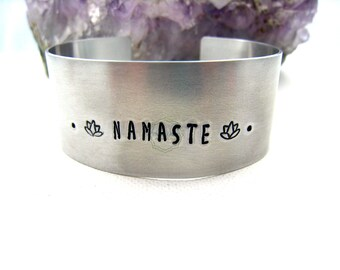 Namaste Bracelet Namaste Cuff Bracelet Aluminum  Namaste Jewelry Yoga Jewelry Lotus Flower Zen Jewelry Traveler Inspired Inspirational Gift