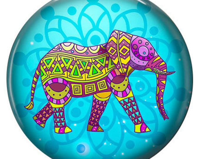 Elephant Snap - Enamel - Compatible with Gingersnaps - - Ginger Snaps -  Magnolia and Vine - Noosa 18-20mm Base - Glass Dome
