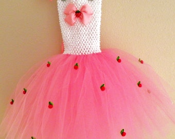 Strawberry Tutu Dress Costume,  Toddler Girls Birthday Tutu Outfit, 1st 2nd 3rd 4th 5th