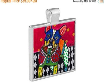 French Bulldog Necklace Dog Folk Art Jewelry - Pendant Metal  Gift Art Heather Galler Gift-  Dog Lovers Abstract Modern Vegan