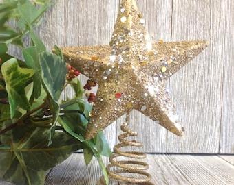 Glittery Gold Mini Star Tree Topper, Metal Tiny Tree Star, Gold Sparkle, Christmas Decor