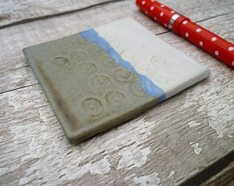 Ceramic coaster, t-light stand, one off pottery, stoneware, home decor, blue, white, gift idea