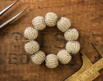 Vintage Silver Iridescent 12mm Bead Wrapped Beaded Bead (10 beads) B01