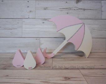 Umbrella & raindrops shelf nursery gift set, Freestanding shelf set