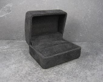 Black Suede Double Engagement Ring Box