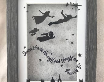 Peter Pan silhouette, Second star to the right, straight on til' morning quote, Peter Pan quote art, framed Peter Pan quote and deisgn