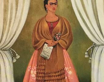 Frida Kahlo-Frida-Art-Self-Portrait-Vintage-Postcard-Dedicated to Trotsky-Mexico-Surrealism-Home decor