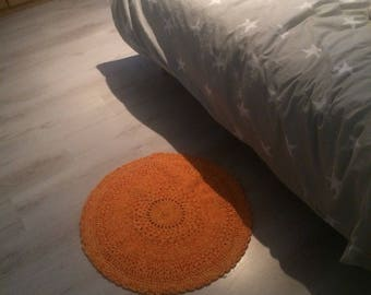 Little orange and yellow crochet rug