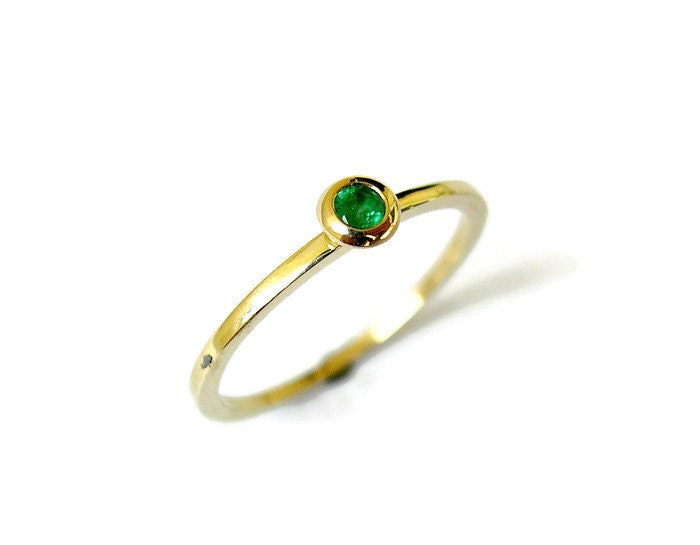Emerald Stacking Ring Tiny Solid Gold Ring Green Stone