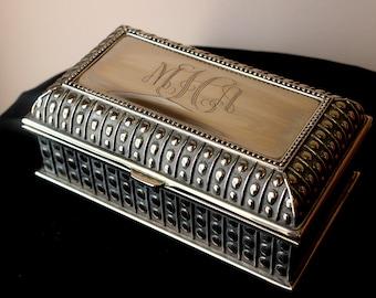 Large Rectangle Beaded Jewelry Box, Monogrammed Jewelry Box, Bridesmaid Monogrammed Gift