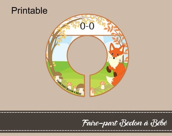 Printable baby closet dividers - nursery clothes dividers - Fox baby shower gift - instant download - baby closet organization
