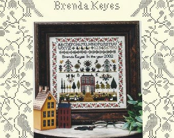 Primitive Sampler Counted Cross Stitch Pattern COUNTRY HOUSE SAMPLER - Red House - Primitive Sampler - Alphabet