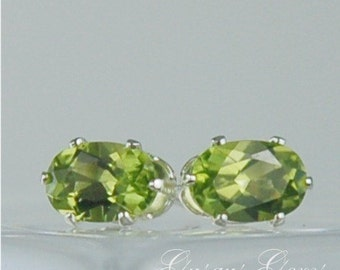 Peridot Stud Earrings Sterling Silver 6x4mm Oval 1ctw Natural Untreated