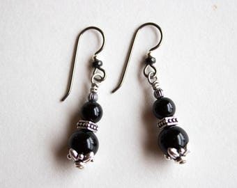 Black Onyx / Dangle Earrings / Lightweight / For Sensitive Ears / Nickel Free / Natural Gemstones / Antiqued Silver / Negativity Protection