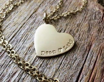 Solid 14K Gold Heart Charm Necklace Personalized Women's Jewelry Hand Stamped Names Birth Dates Custom Engraved Artisan Hand Crafted Fine
